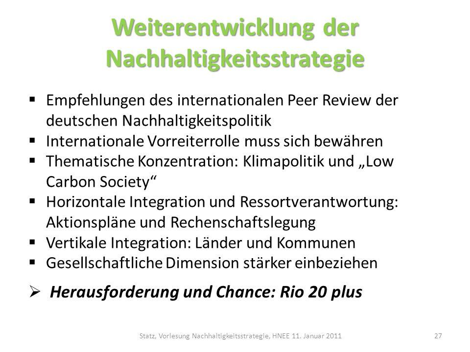 Weiterentwicklung der Nachhaltigkeitsstrategie Empfehlungen des internationalen Peer Review der deutschen Nachhaltigkeitspolitik Internationale Vorrei