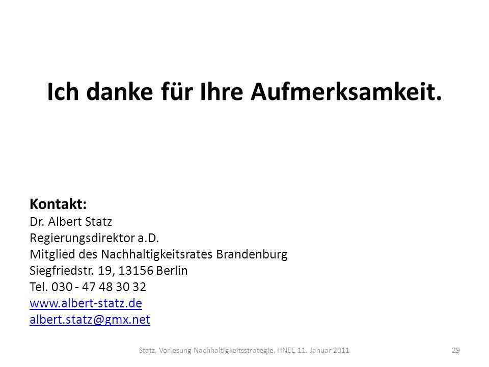 Ich danke für Ihre Aufmerksamkeit. Kontakt: Dr. Albert Statz Regierungsdirektor a.D. Mitglied des Nachhaltigkeitsrates Brandenburg Siegfriedstr. 19, 1