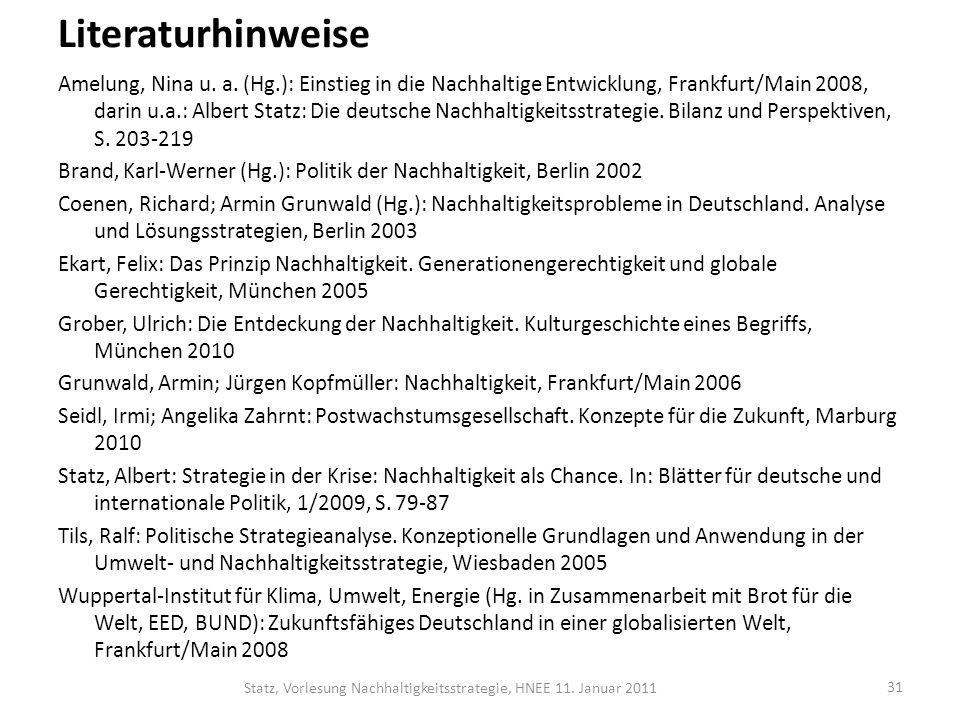 Literaturhinweise Amelung, Nina u. a. (Hg.): Einstieg in die Nachhaltige Entwicklung, Frankfurt/Main 2008, darin u.a.: Albert Statz: Die deutsche Nach
