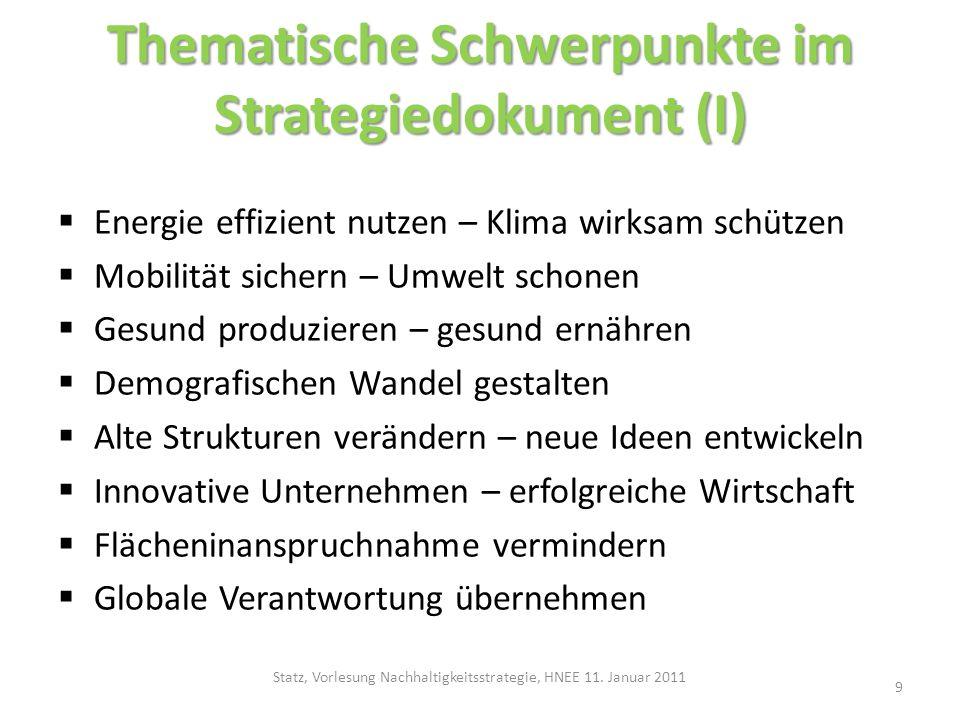 Thematische Schwerpunkte im Strategiedokument (I) Energie effizient nutzen – Klima wirksam schützen Mobilität sichern – Umwelt schonen Gesund produzie