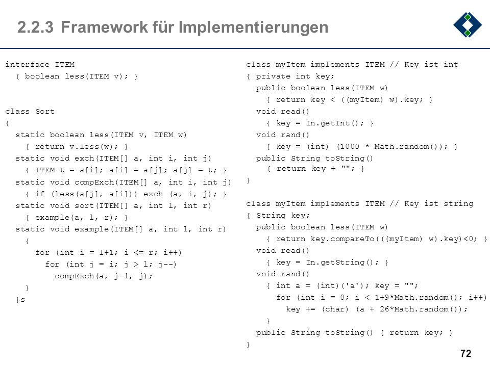 2.2.3Framework für Implementierungen interface ITEM { boolean less(ITEM v); } class Sort { static boolean less(ITEM v, ITEM w) { return v.less(w); } s