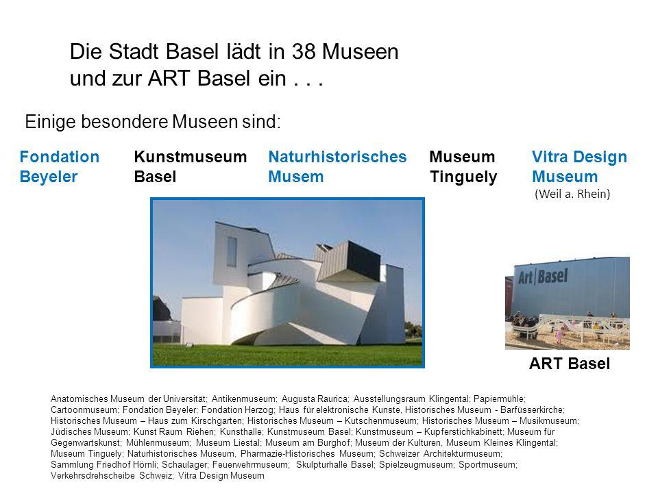 Die Stadt Basel lädt in 38 Museen und zur ART Basel ein... Anatomisches Museum der Universität; Antikenmuseum; Augusta Raurica; Ausstellungsraum Kling