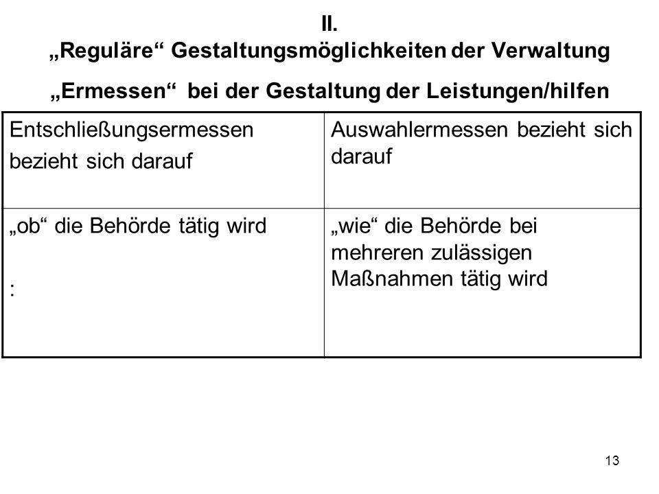13 II. Reguläre Gestaltungsmöglichkeiten der Verwaltung Ermessen bei der Gestaltung der Leistungen/hilfen Entschließungsermessen bezieht sich darauf A