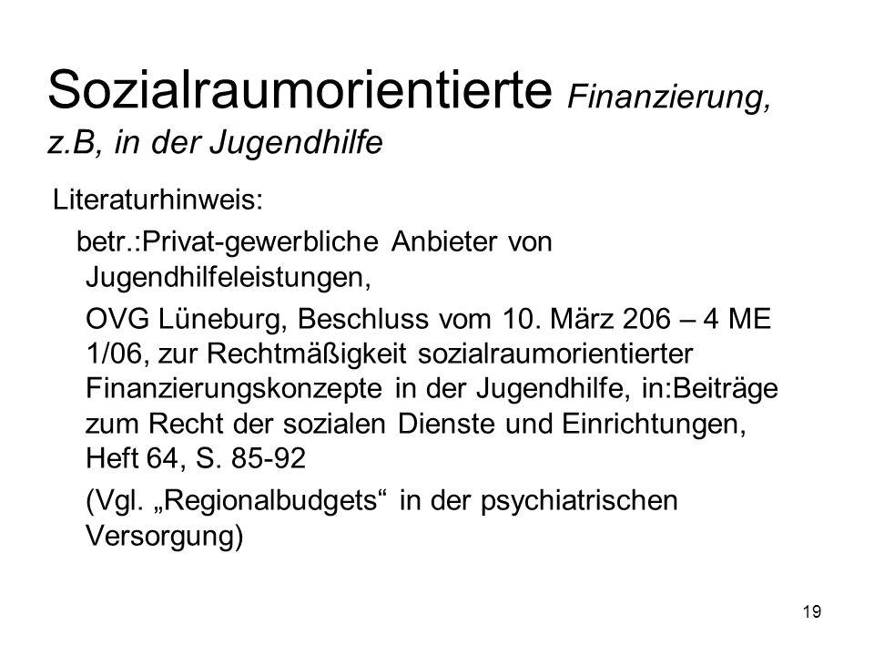 19 Sozialraumorientierte Finanzierung, z.B, in der Jugendhilfe Literaturhinweis: betr.:Privat-gewerbliche Anbieter von Jugendhilfeleistungen, OVG Lüne