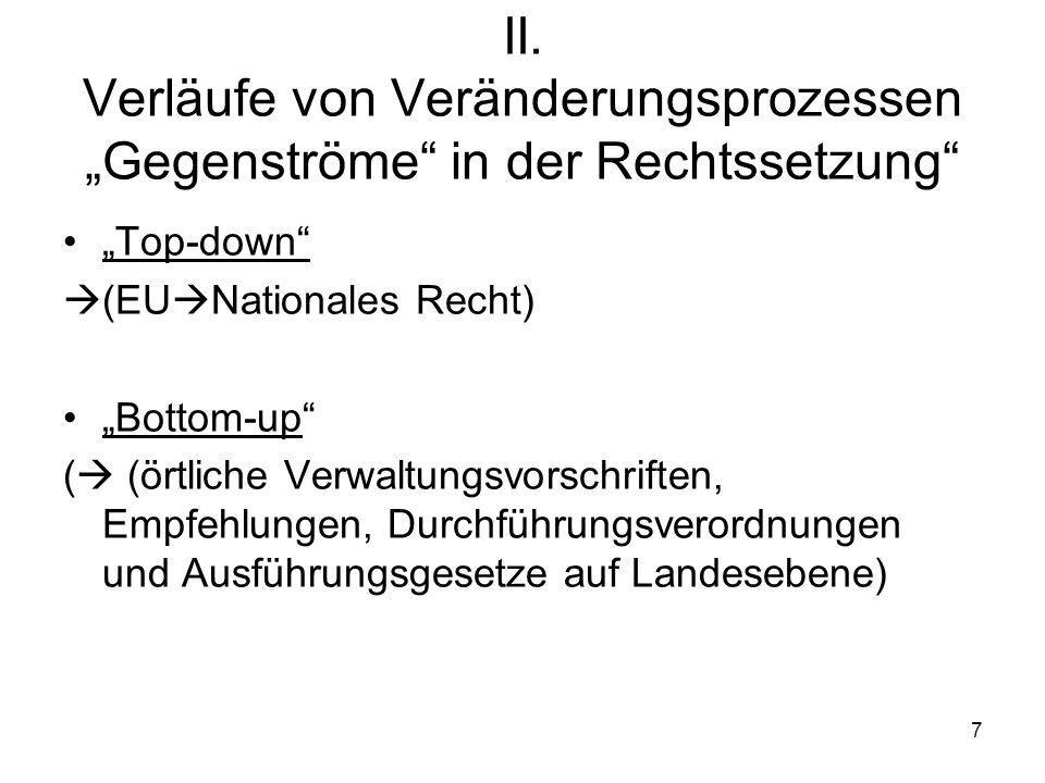 7 II. Verläufe von Veränderungsprozessen Gegenströme in der Rechtssetzung Top-down (EU Nationales Recht) Bottom-up ( (örtliche Verwaltungsvorschriften