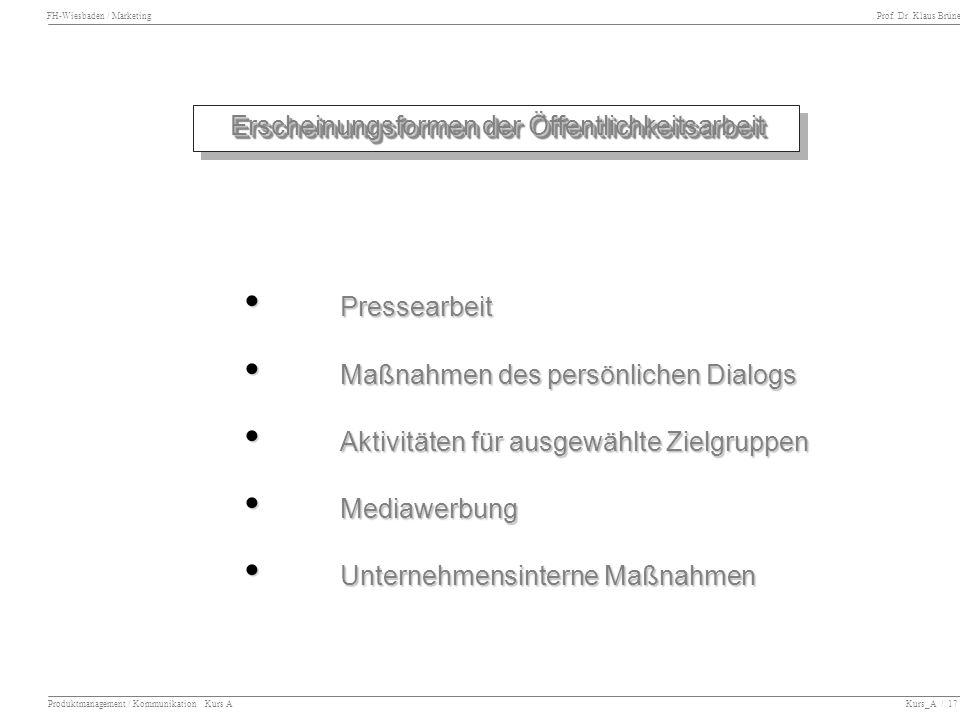 FH-Wiesbaden / Marketing Prof. Dr. Klaus Brüne Produktmanagement / Kommunikation Kurs A Kurs_A / 17 Erscheinungsformen der Öffentlichkeitsarbeit Press