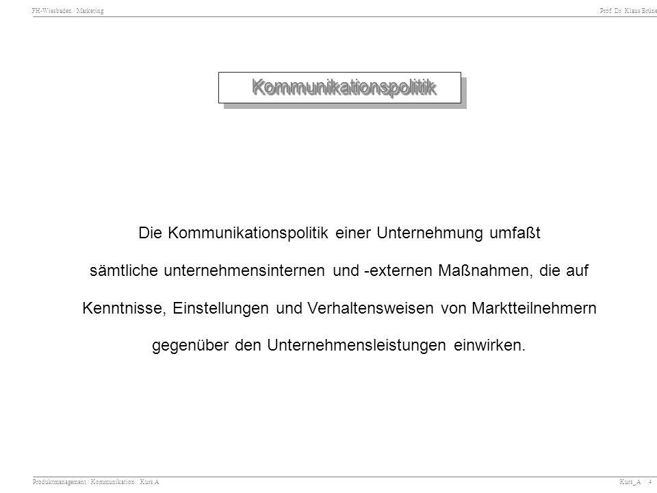 FH-Wiesbaden / Marketing Prof. Dr. Klaus Brüne Produktmanagement / Kommunikation Kurs A Kurs_A / 4 Kommunikationspolitik Kommunikationspolitik Die Kom
