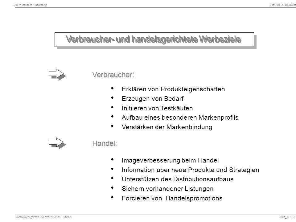 FH-Wiesbaden / Marketing Prof. Dr. Klaus Brüne Produktmanagement / Kommunikation Kurs A Kurs_A / 41 Verbraucher- und handelsgerichtete Werbeziele Verb