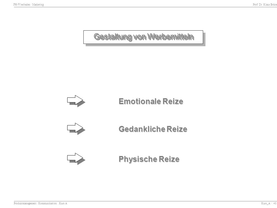 FH-Wiesbaden / Marketing Prof. Dr. Klaus Brüne Produktmanagement / Kommunikation Kurs A Kurs_A / 48 Gestaltung von Werbemitteln Emotionale Reize Gedan