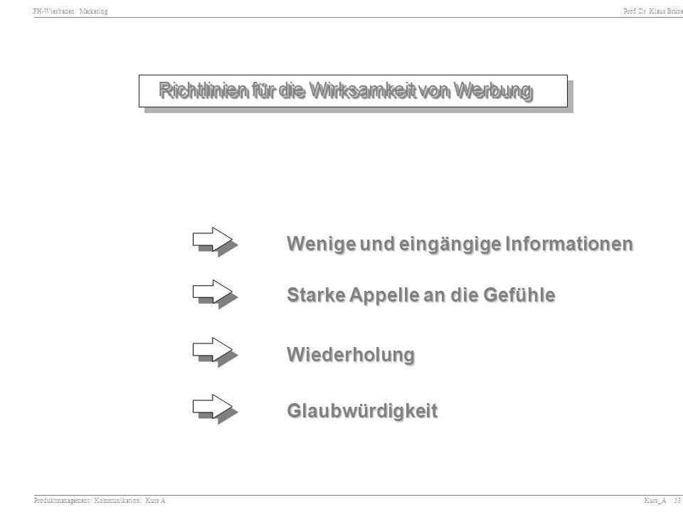 FH-Wiesbaden / Marketing Prof. Dr. Klaus Brüne Produktmanagement / Kommunikation Kurs A Kurs_A / 53 Richtlinien für die Wirksamkeit von Werbung Wenige