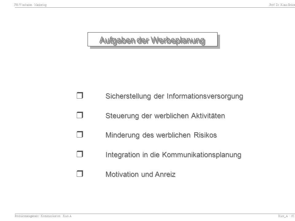 FH-Wiesbaden / Marketing Prof. Dr. Klaus Brüne Produktmanagement / Kommunikation Kurs A Kurs_A / 65 Aufgaben der Werbeplanung Sicherstellung der Infor