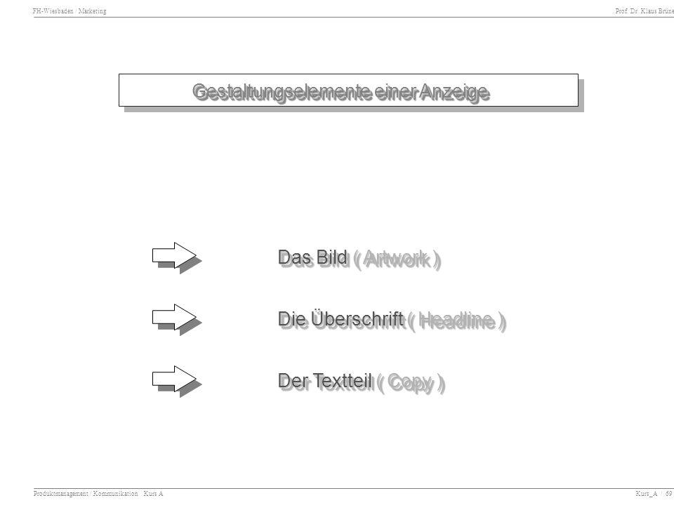 FH-Wiesbaden / Marketing Prof. Dr. Klaus Brüne Produktmanagement / Kommunikation Kurs A Kurs_A / 69 Gestaltungselemente einer Anzeige Das Bild ( Artwo