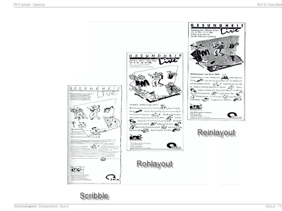 FH-Wiesbaden / Marketing Prof. Dr. Klaus Brüne Produktmanagement / Kommunikation Kurs A Kurs_A / 74 ScribbleScribble RohlayoutRohlayout ReinlayoutRein