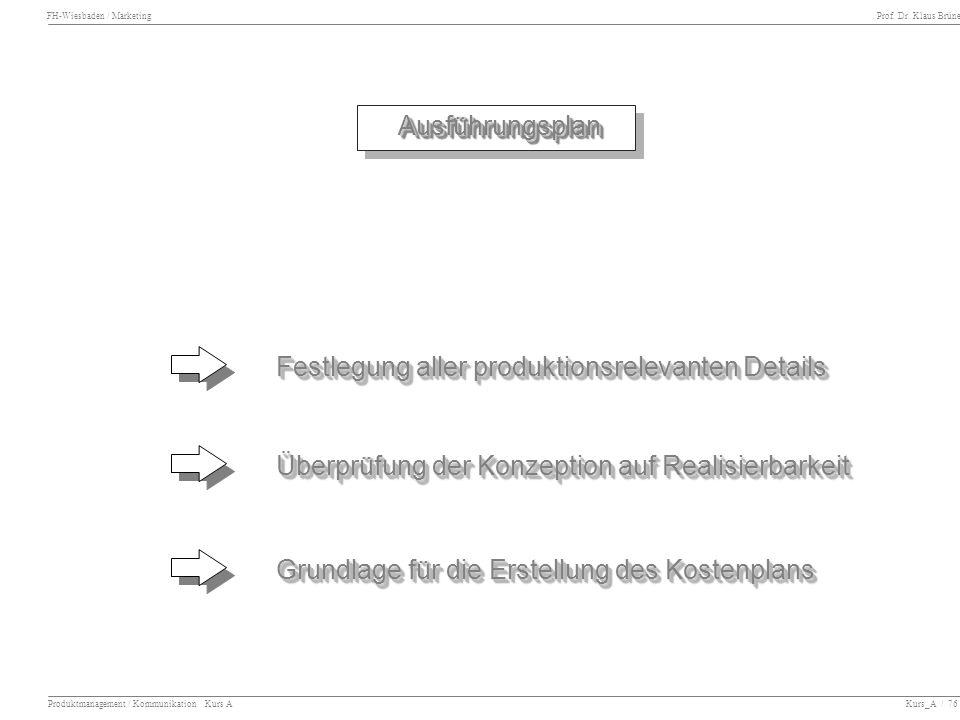 FH-Wiesbaden / Marketing Prof. Dr. Klaus Brüne Produktmanagement / Kommunikation Kurs A Kurs_A / 76 Ausführungsplan Ausführungsplan Festlegung aller p