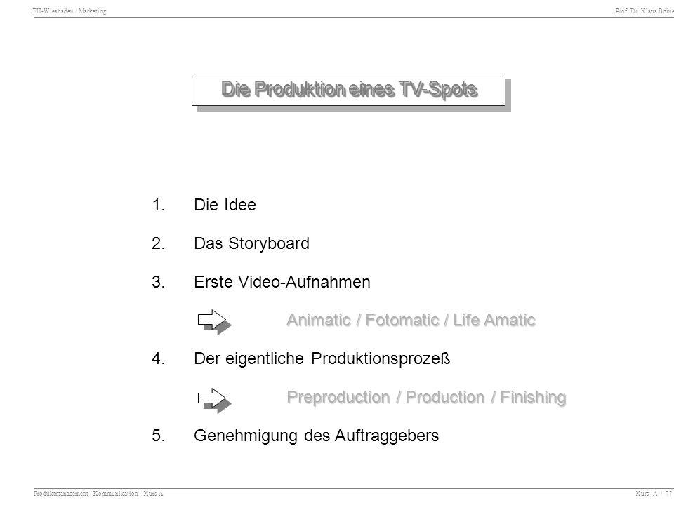 FH-Wiesbaden / Marketing Prof. Dr. Klaus Brüne Produktmanagement / Kommunikation Kurs A Kurs_A / 77 Die Produktion eines TV-Spots 1.Die Idee 2. Das St