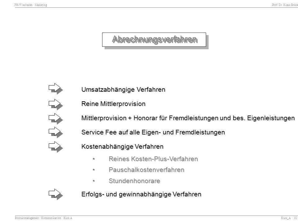 FH-Wiesbaden / Marketing Prof. Dr. Klaus Brüne Produktmanagement / Kommunikation Kurs A Kurs_A / 82 AbrechnungsverfahrenAbrechnungsverfahren Umsatzabh