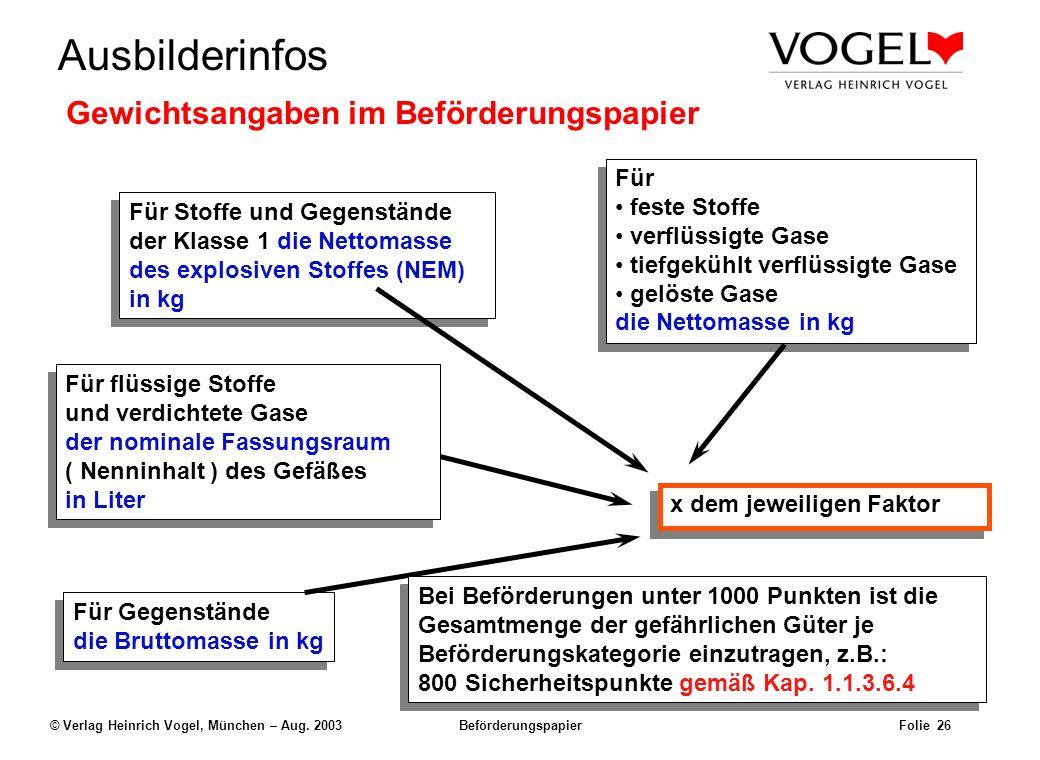 Uwe@Hildach.de Ausbilderinfos © Verlag Heinrich Vogel, München – Aug. 2003 Beförderungspapier Folie 25 Beispiel: Der Frachtbrief Uwe Hildach Nimrodstr
