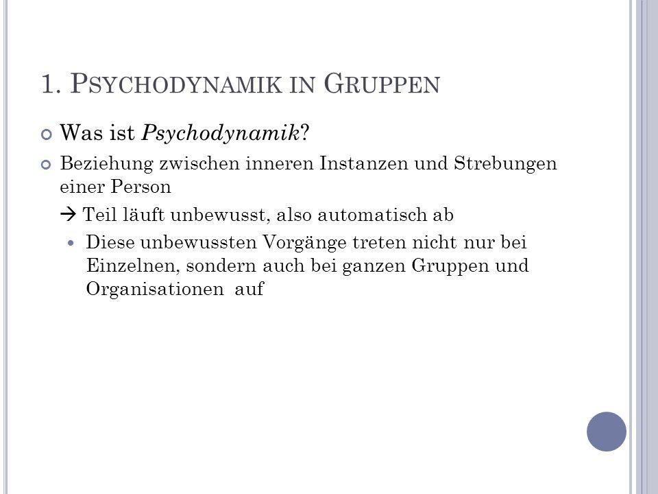 1. P SYCHODYNAMIK IN G RUPPEN Was ist Psychodynamik ? Beziehung zwischen inneren Instanzen und Strebungen einer Person Teil läuft unbewusst, also auto