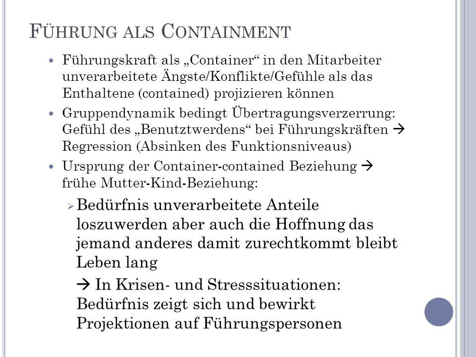 F ÜHRUNG ALS C ONTAINMENT Führungskraft als Container in den Mitarbeiter unverarbeitete Ängste/Konflikte/Gefühle als das Enthaltene (contained) projiz
