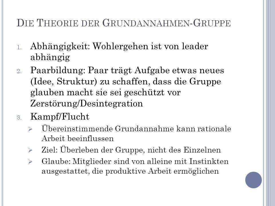 D IE T HEORIE DER G RUNDANNAHMEN -G RUPPE 1. Abhängigkeit: Wohlergehen ist von leader abhängig 2. Paarbildung: Paar trägt Aufgabe etwas neues (Idee, S