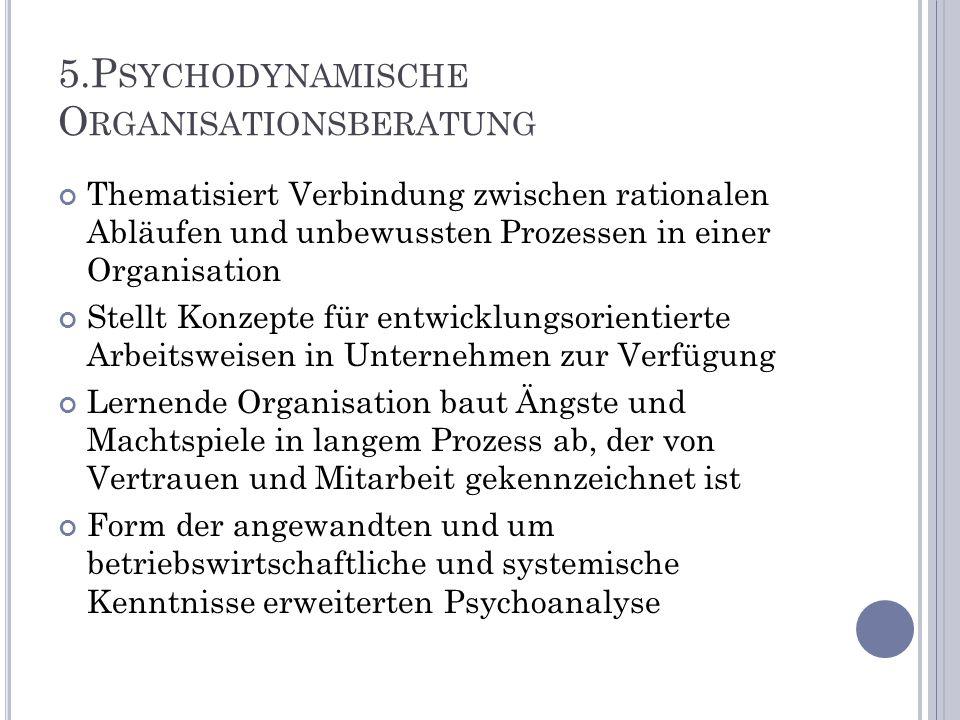 5.P SYCHODYNAMISCHE O RGANISATIONSBERATUNG Thematisiert Verbindung zwischen rationalen Abläufen und unbewussten Prozessen in einer Organisation Stellt
