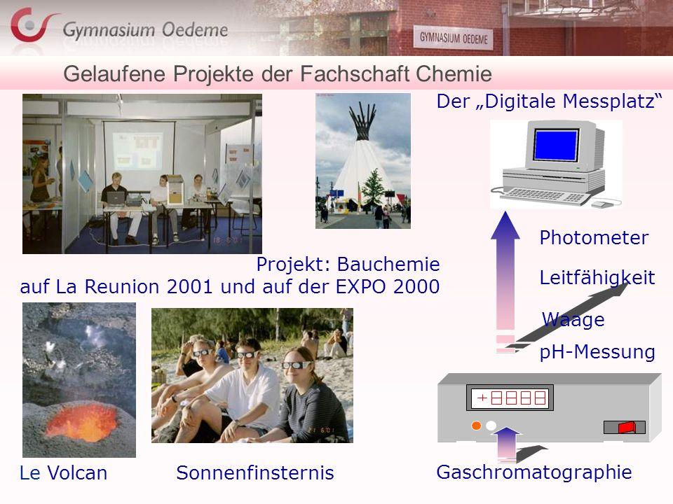 Gelaufene Projekte der Fachschaft Chemie Le VolcanSonnenfinsternis pH-Messung Leitfähigkeit Gaschromatographie Waage Der Digitale Messplatz Photometer