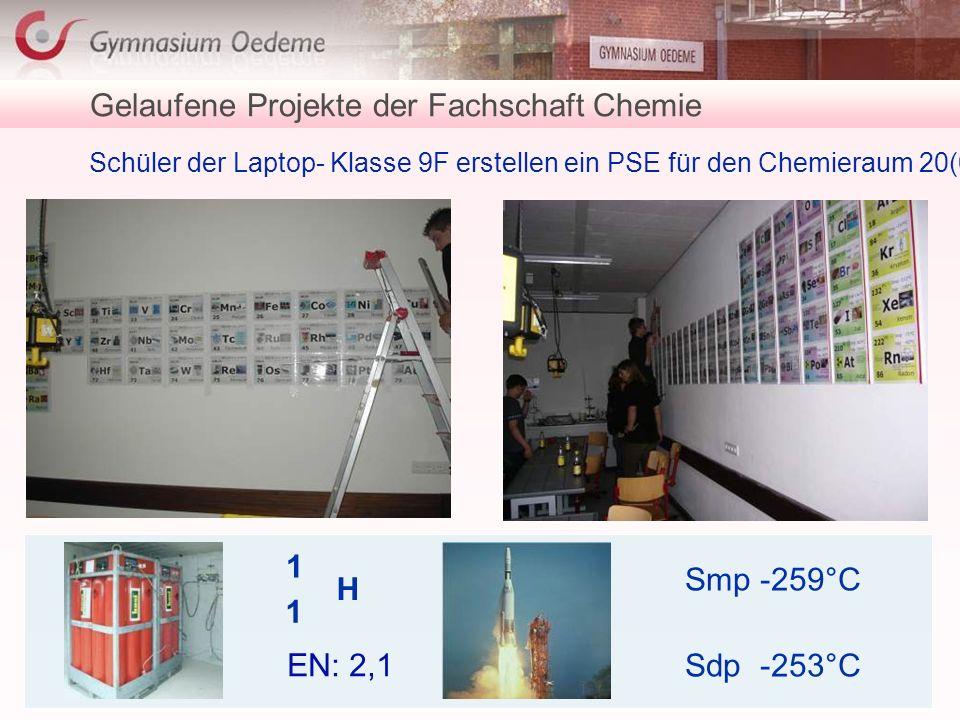 Gelaufene Projekte der Fachschaft Chemie Schüler der Laptop- Klasse 9F erstellen ein PSE für den Chemieraum 20(0)5 H 1 1 Smp -259°C Sdp -253°C EN: 2,1