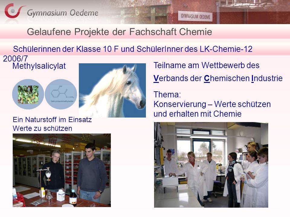 Schülerinnen der Klasse 10 F und SchülerInner des LK-Chemie-12 2006/7 Gelaufene Projekte der Fachschaft Chemie Methylsalicylat Teilname am Wettbewerb