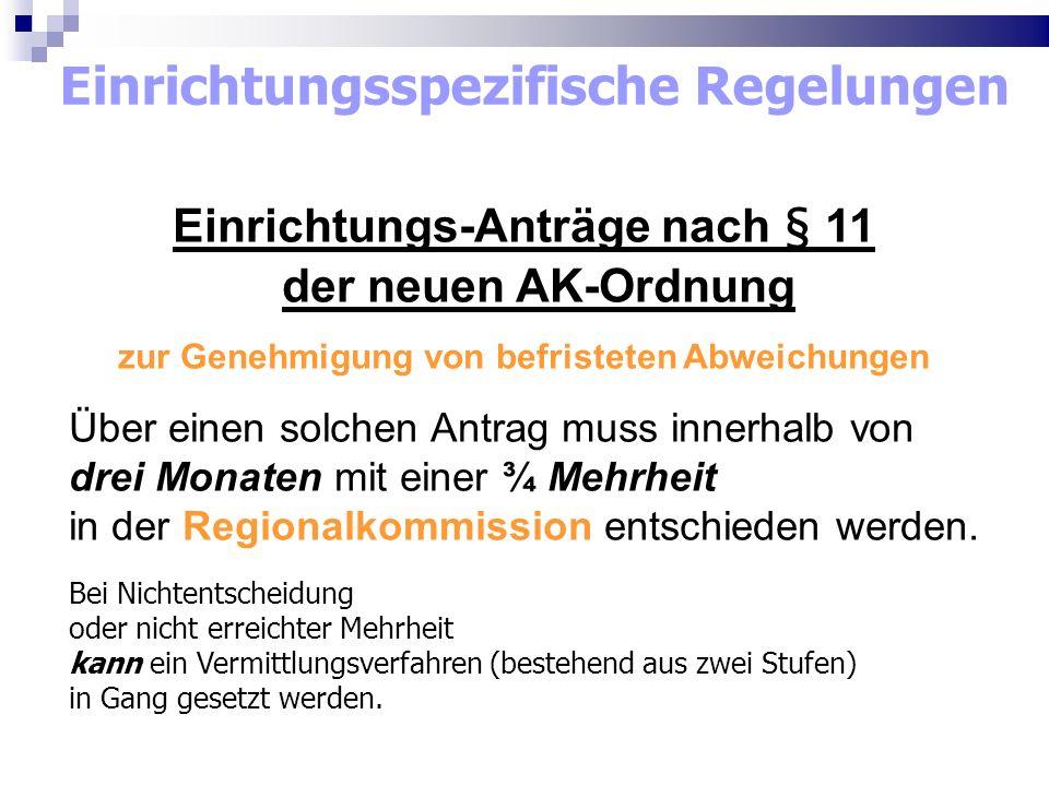 Einrichtungsspezifische Regelungen Einrichtungs-Anträge nach § 11 der neuen AK-Ordnung zur Genehmigung von befristeten Abweichungen Über einen solchen