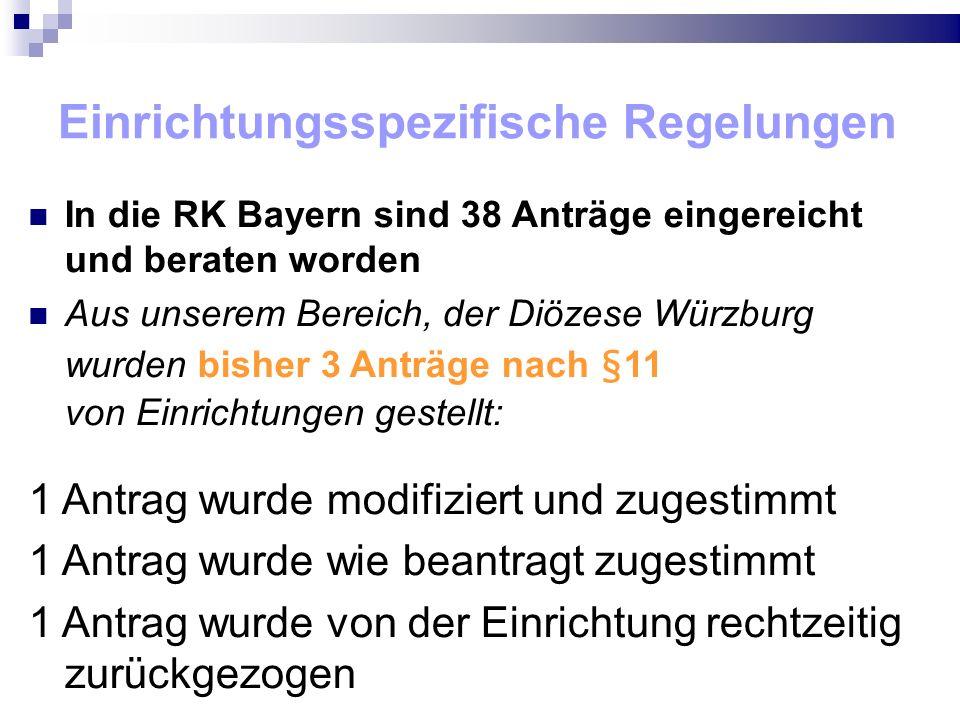 Einrichtungsspezifische Regelungen In die RK Bayern sind 38 Anträge eingereicht und beraten worden Aus unserem Bereich, der Diözese Würzburg wurden bisher 3 Anträge nach §11 von Einrichtungen gestellt: 1 Antrag wurde modifiziert und zugestimmt 1 Antrag wurde wie beantragt zugestimmt 1 Antrag wurde von der Einrichtung rechtzeitig zurückgezogen
