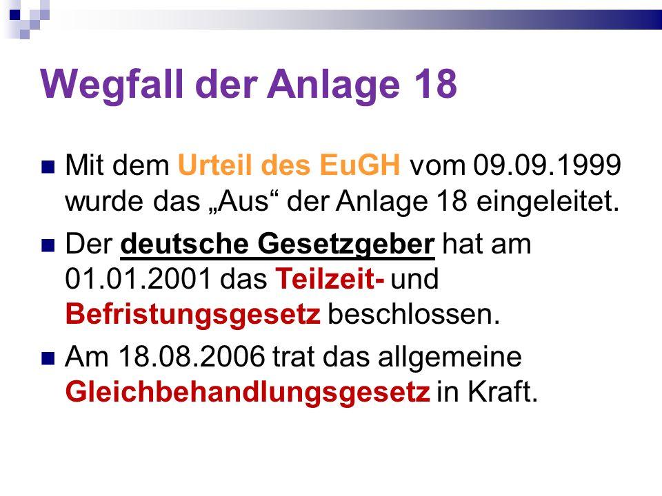 Wegfall der Anlage 18 Mit dem Urteil des EuGH vom 09.09.1999 wurde das Aus der Anlage 18 eingeleitet. Der deutsche Gesetzgeber hat am 01.01.2001 das T