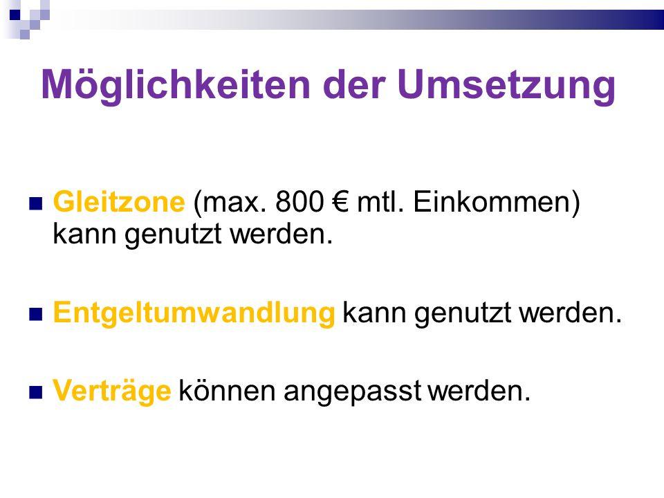 Möglichkeiten der Umsetzung Gleitzone (max. 800 mtl. Einkommen) kann genutzt werden. Entgeltumwandlung kann genutzt werden. Verträge können angepasst