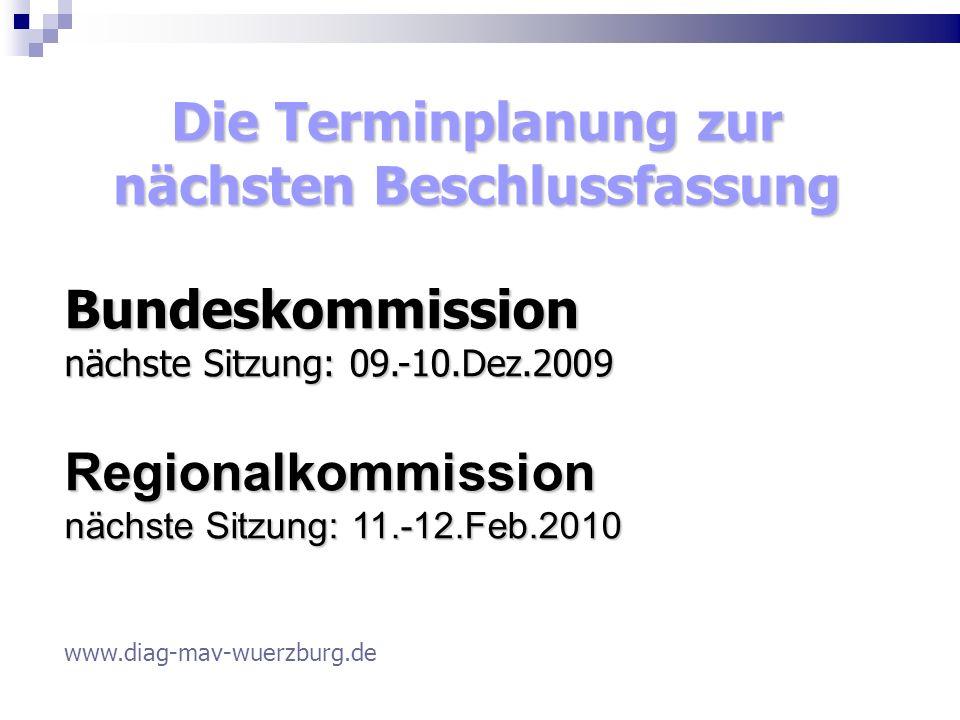 Die Terminplanung zur nächsten Beschlussfassung Bundeskommission nächste Sitzung: 09.-10.Dez.2009 Regionalkommission nächste Sitzung: 11.-12.Feb.2010