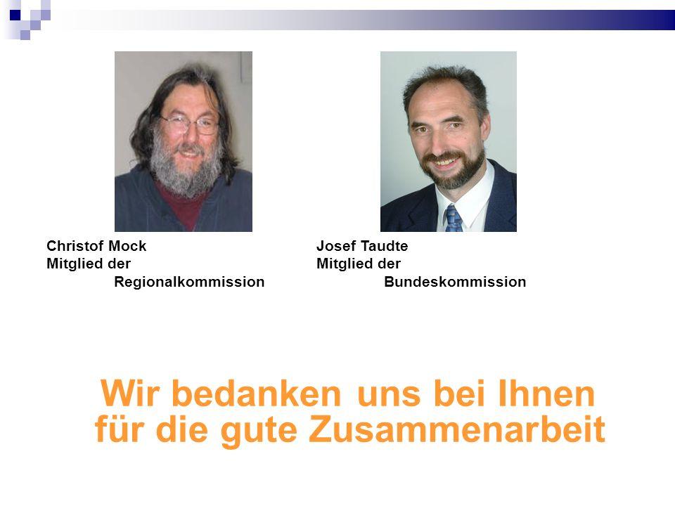 Wir bedanken uns bei Ihnen für die gute Zusammenarbeit Christof Mock Josef Taudte Mitglied der Mitglied der RegionalkommissionBundeskommission