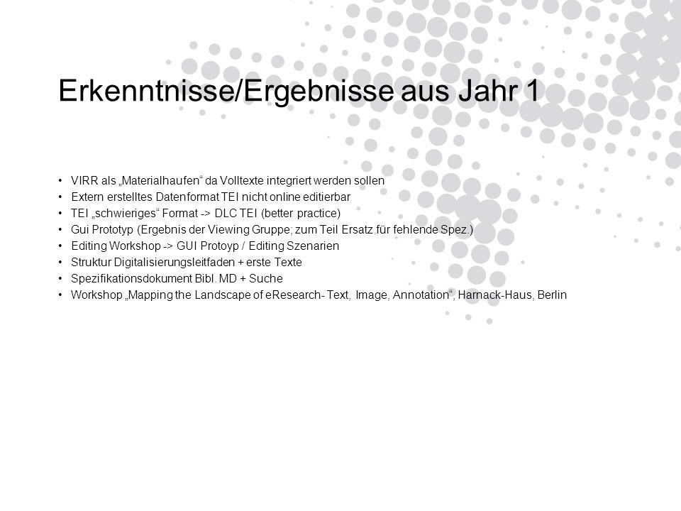 Erkenntnisse/Ergebnisse aus Jahr 1 VIRR als Materialhaufen da Volltexte integriert werden sollen Extern erstelltes Datenformat TEI nicht online editierbar TEI schwieriges Format -> DLC TEI (better practice) Gui Prototyp (Ergebnis der Viewing Gruppe; zum Teil Ersatz für fehlende Spez.) Editing Workshop -> GUI Protoyp / Editing Szenarien Struktur Digitalisierungsleitfaden + erste Texte Spezifikationsdokument Bibl.