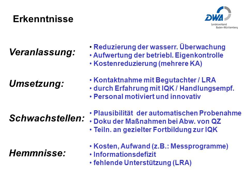 Erkenntnisse Veranlassung: Umsetzung: Schwachstellen: Hemmnisse: Reduzierung der wasserr.