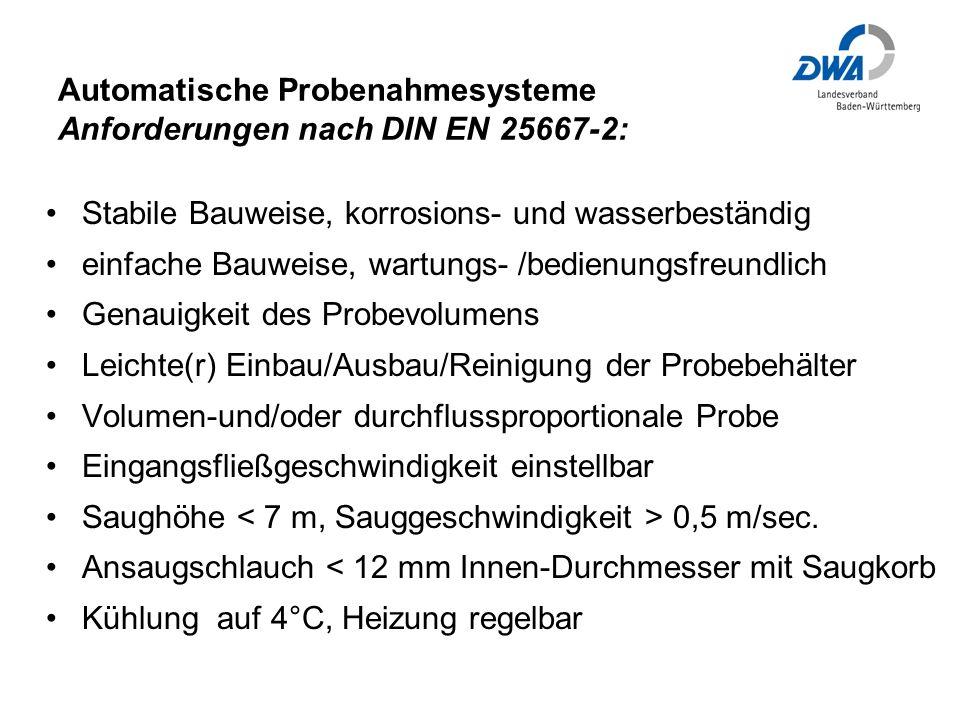 Automatische Probenahmesysteme Anforderungen nach DIN EN 25667-2: Stabile Bauweise, korrosions- und wasserbeständig einfache Bauweise, wartungs- /bedienungsfreundlich Genauigkeit des Probevolumens Leichte(r) Einbau/Ausbau/Reinigung der Probebehälter Volumen-und/oder durchflussproportionale Probe Eingangsfließgeschwindigkeit einstellbar Saughöhe 0,5 m/sec.