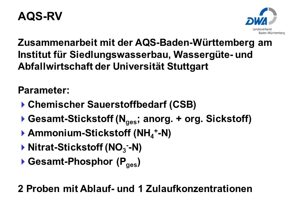 Zusammenarbeit mit der AQS-Baden-Württemberg am Institut für Siedlungswasserbau, Wassergüte- und Abfallwirtschaft der Universität Stuttgart Parameter: Chemischer Sauerstoffbedarf (CSB) Gesamt-Stickstoff (N ges ; anorg.