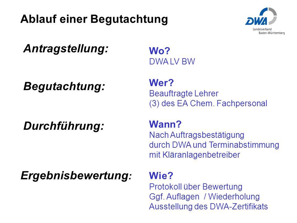 Ablauf einer Begutachtung Wo.DWA LV BW Wer. Beauftragte Lehrer (3) des EA Chem.