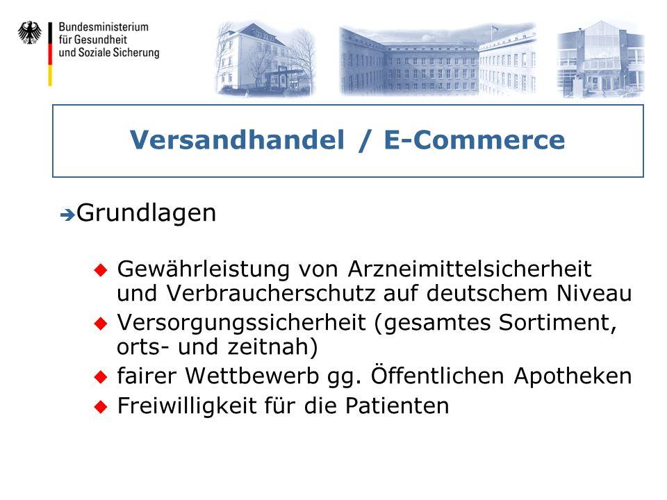 Versandhandel / E-Commerce è Grundlagen u Gewährleistung von Arzneimittelsicherheit und Verbraucherschutz auf deutschem Niveau u Versorgungssicherheit