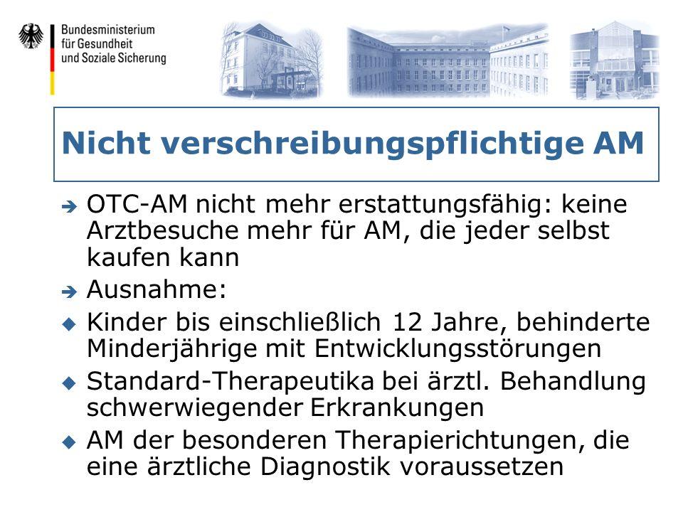 Nicht verschreibungspflichtige AM è OTC-AM nicht mehr erstattungsfähig: keine Arztbesuche mehr für AM, die jeder selbst kaufen kann è Ausnahme: u Kind