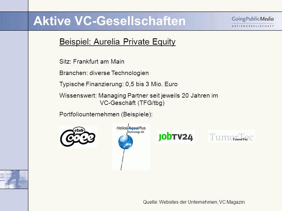 Aktive VC-Gesellschaften Beispiel: Aurelia Private Equity Sitz: Frankfurt am Main Branchen: diverse Technologien Typische Finanzierung: 0,5 bis 3 Mio.