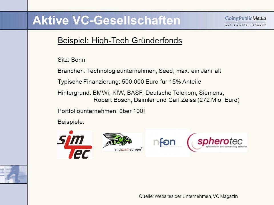 Aktive VC-Gesellschaften Beispiel: High-Tech Gründerfonds Sitz: Bonn Branchen: Technologieunternehmen, Seed, max. ein Jahr alt Typische Finanzierung: