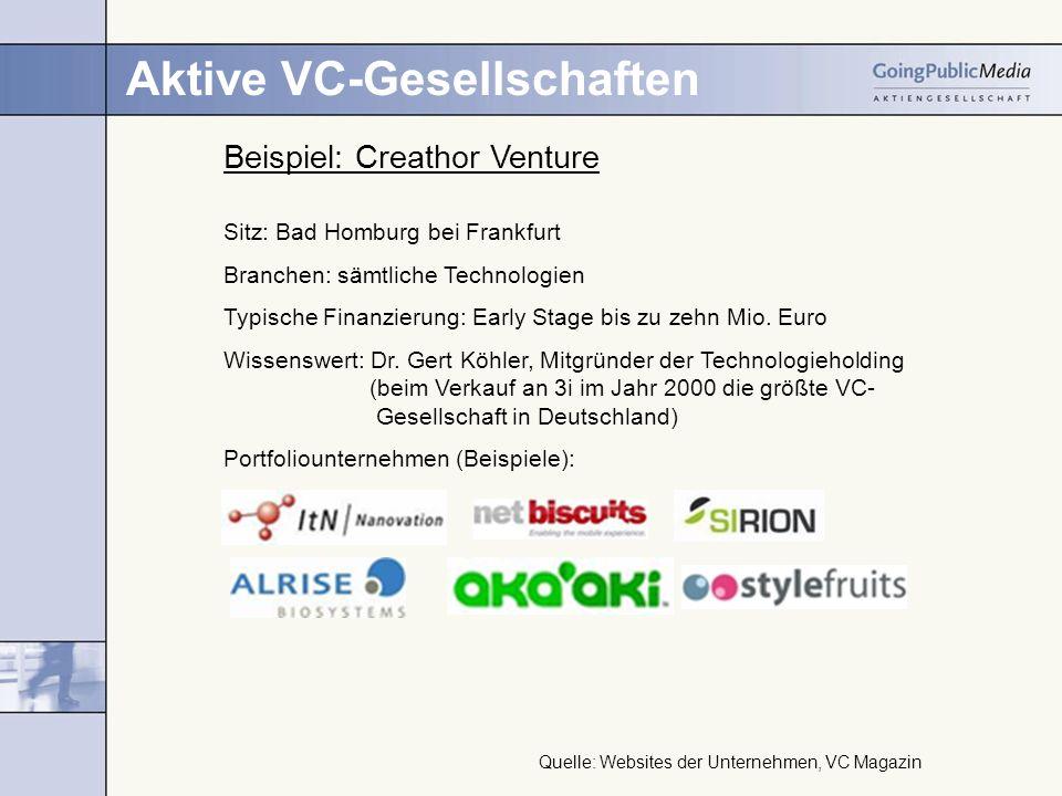 Aktive VC-Gesellschaften Beispiel: Creathor Venture Sitz: Bad Homburg bei Frankfurt Branchen: sämtliche Technologien Typische Finanzierung: Early Stage bis zu zehn Mio.