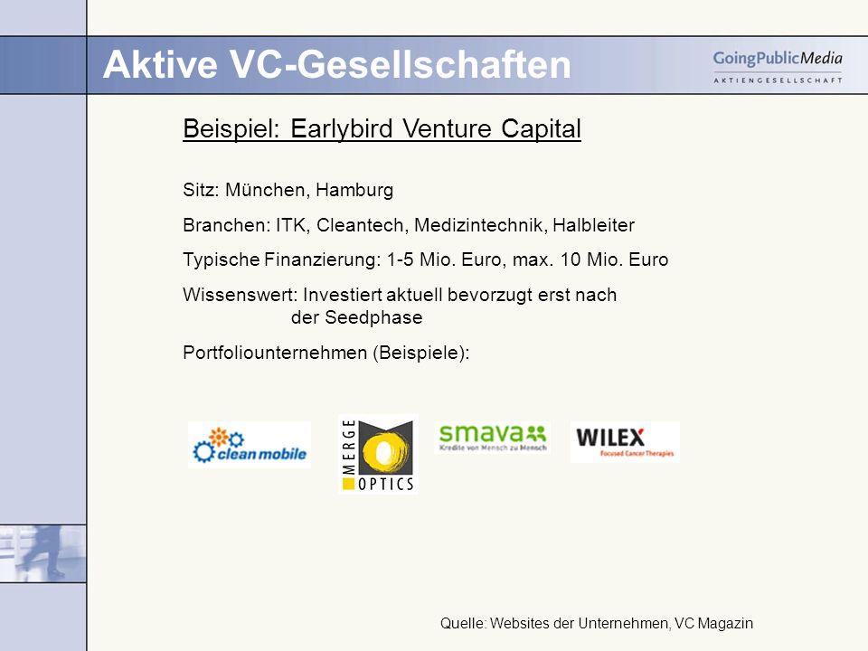 Aktive VC-Gesellschaften Beispiel: Earlybird Venture Capital Sitz: München, Hamburg Branchen: ITK, Cleantech, Medizintechnik, Halbleiter Typische Finanzierung: 1-5 Mio.