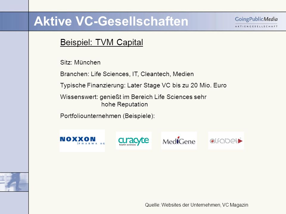 Aktive VC-Gesellschaften Beispiel: TVM Capital Sitz: München Branchen: Life Sciences, IT, Cleantech, Medien Typische Finanzierung: Later Stage VC bis