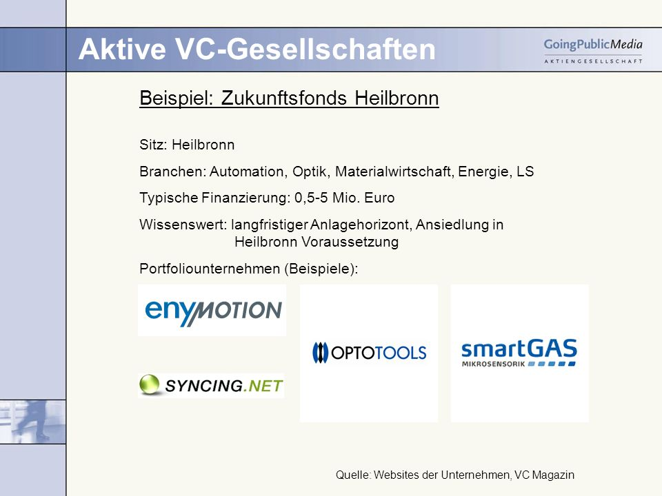 Aktive VC-Gesellschaften Beispiel: Zukunftsfonds Heilbronn Sitz: Heilbronn Branchen: Automation, Optik, Materialwirtschaft, Energie, LS Typische Finanzierung: 0,5-5 Mio.