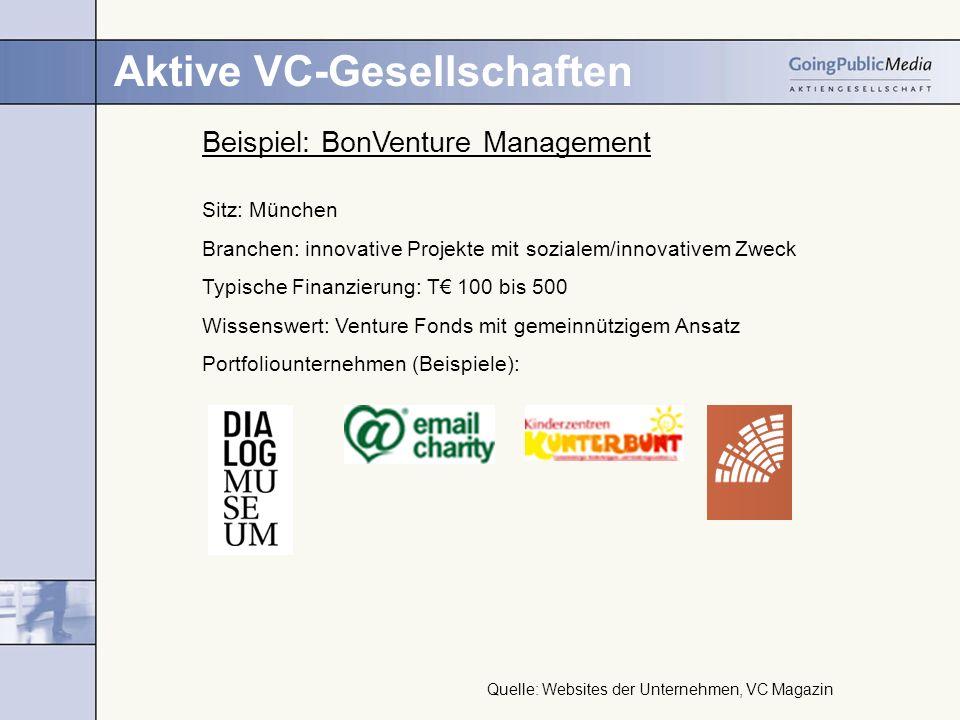 Aktive VC-Gesellschaften Beispiel: BonVenture Management Sitz: München Branchen: innovative Projekte mit sozialem/innovativem Zweck Typische Finanzier