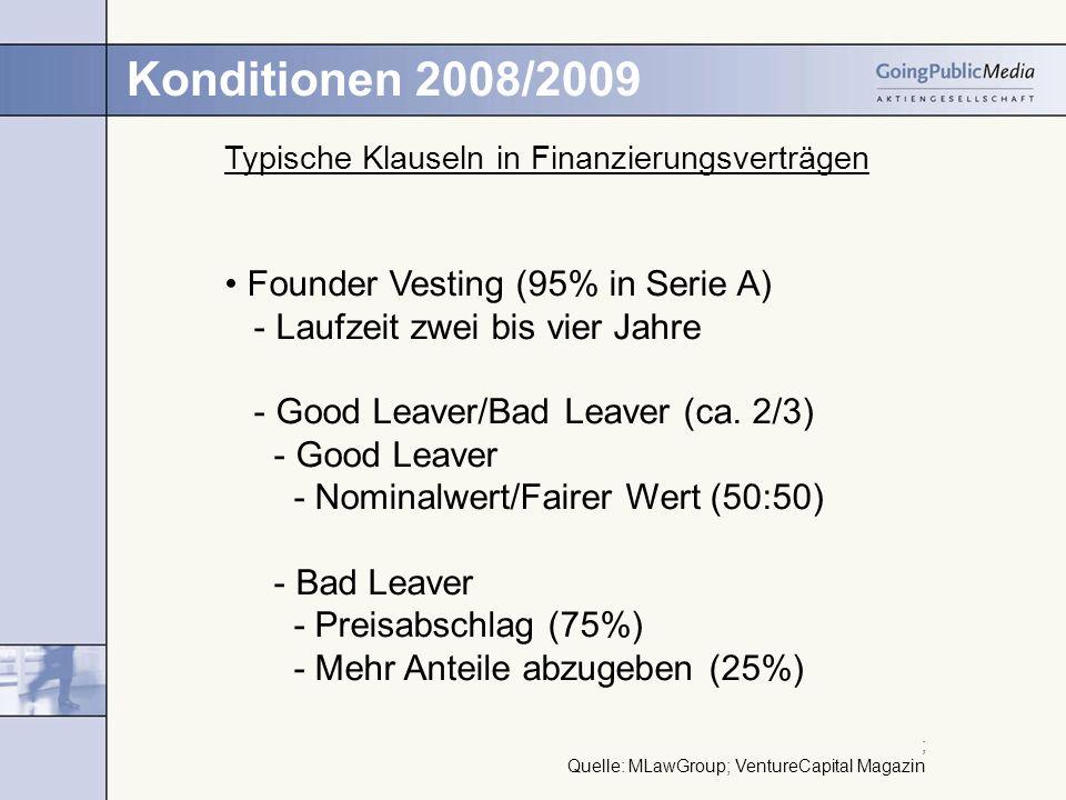 Konditionen 2008/2009 Typische Klauseln in Finanzierungsverträgen Founder Vesting (95% in Serie A) - Laufzeit zwei bis vier Jahre - Good Leaver/Bad Le