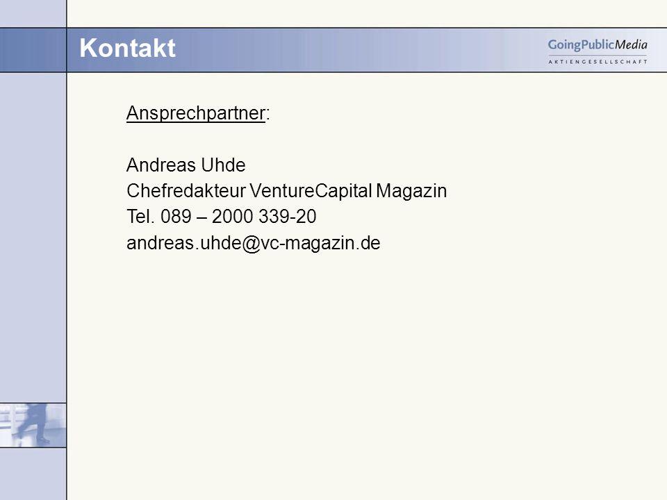 Kontakt Ansprechpartner: Andreas Uhde Chefredakteur VentureCapital Magazin Tel. 089 – 2000 339-20 andreas.uhde@vc-magazin.de